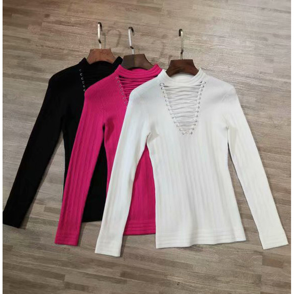 10.22 tencel wool sweaters women pullover long sleeve base shirt slim vintage lace up hollow out elastic knitted thumbnail