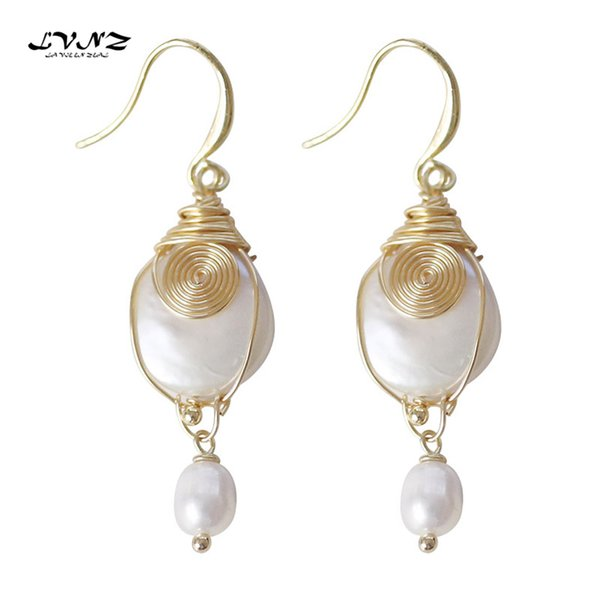 LVNZ 2019 New Hot Fashion Metal Wound Round The Freshwater Pearls Drop Earrings Trendy Elegant Statement Women Jewelry 7074d