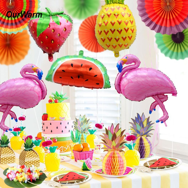 Hawaiian Party Decorations Flamingo Foil Balloons Paper Candy Box Napkin Pineapple Hanging Balls Disposable Tableware