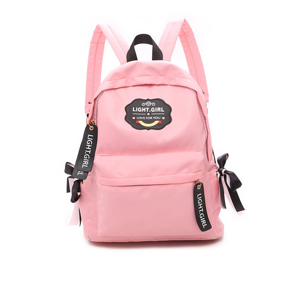 New fashionable nylon, letter shoulder bag, bow knot, simple schoolbag for boys and girls, Travel Backpack