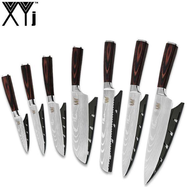 XYj Kitchen Knives Chopping Santoku Bread Knife Laser Damascus pattern Blade Stainless Steel Knife 7 PCS