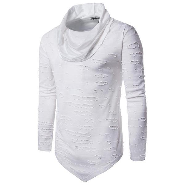 Tişört Erkekler Turtleneck Uzun Kollu Delik Kazak Beyaz Üst Tee Hip Hop Punk Rock Tee Gömlek Streetwear Kara Cuma Pretty