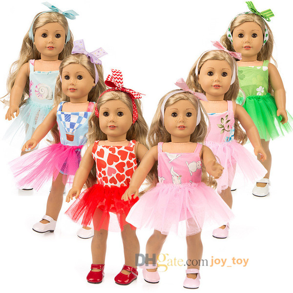 18 inch doll Skirt Spring Summer Dress with Head Wear 6 Styles Multi Color Cloth for 18 inch American Girl Dolls