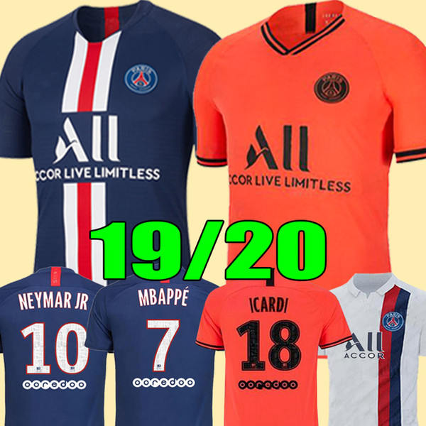 top popular Maillots de football kit 19 20 PSG soccer jersey 2019 2020 Paris MBAPPE ICARDI MARQUINHOS jersey camisetas de futbol shirt men + kids sets 2019