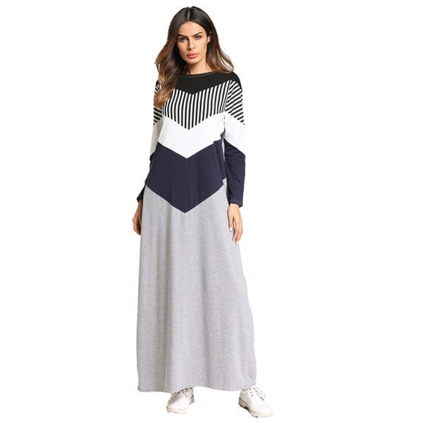 Robe musulmane Robe Caftan marocain Dubaï Arabe Abaya Stripe Patchwork Vêtements Islamiques Bangladesh Turquie Vestidos Emirats Arabes Unis Robe