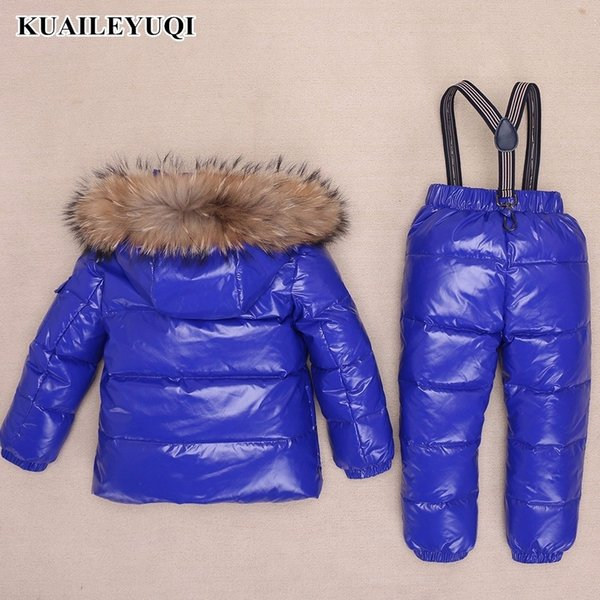 -30 Degree Russian Children Clothing Sets Winter Boys Ski Suit Down Jacket for Girl clothes + Pants Thicker baby parka real fur MX191024