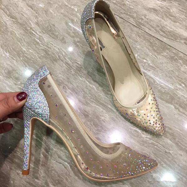Фирменные сексуальные кружевные алмазные женские тонкие марлевые туфли на высоком каблуке с остроконечными туфлями, хрустальные свадебные туфли