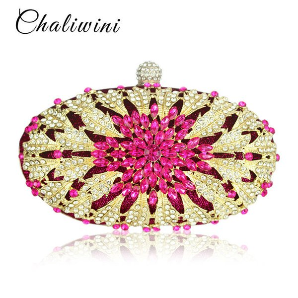 Lady Floral Colorful Diamond Wedding Evening Women Clutch Round Bag Toiletry Purses And Handbags Crossbody Party Shoulder Bags Y19061301