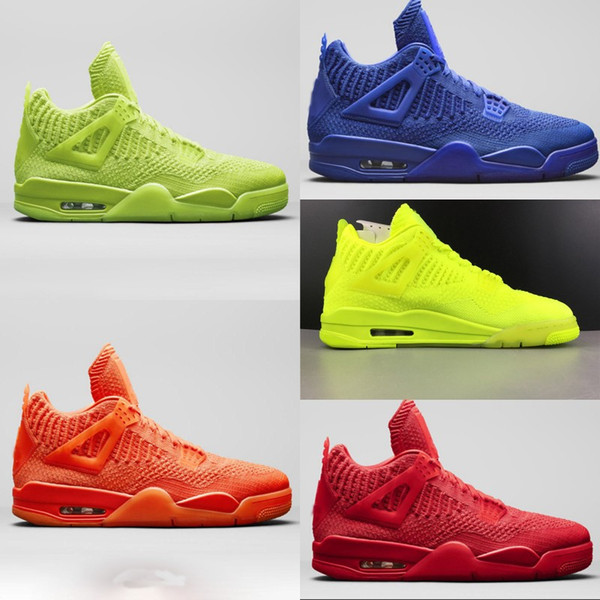 High Quality Knit 4 Fly University Red Super Sapphire Blue Full Orange Fluorescent Knitted Basketball Shoes Mens 4S Knitted Sports Shoes
