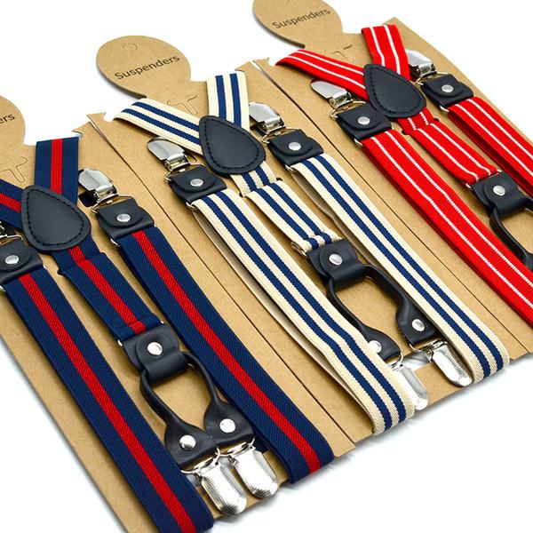 Grands enfants jarretelle mode quatre clip bande élastique réglable boucle lisse porte-jarretelle adulte Y-forme gentleman ceintures 2.5 * 120CM F8332