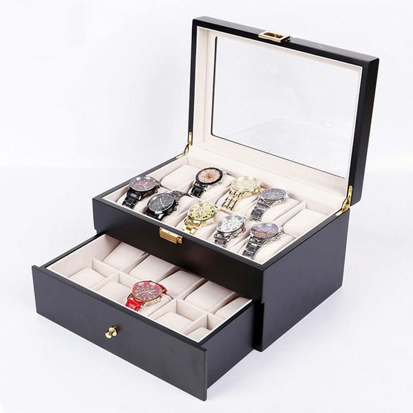A caixa de madeira da caixa de relógio do armazenamento da exposição do caso do relógio do revestimento da coleção com parte superior clara de vidro da visão guarda 20 relógios armazenamento de 2 camadas