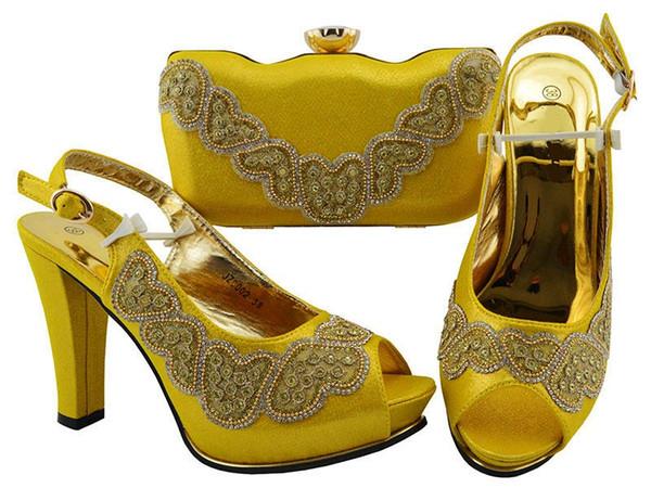 Beautiful yellow women pumps with rhinestone decoration african shoes match handbag set for dress JZC002,heel 11.5CM