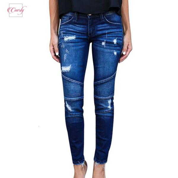 New Womens motociclista Zipper Jeans Fit rasgado estiramento Skinny Denim Calças Lápis fêmea magro Buraco Calças Jeans