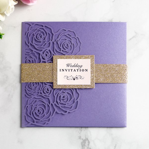 New 2019 Wedding Invitation Card Hollow Envelope Inner Page Invitations Pocket Girdle Square Laser Cut Invitations Cards V240 Sample Wedding