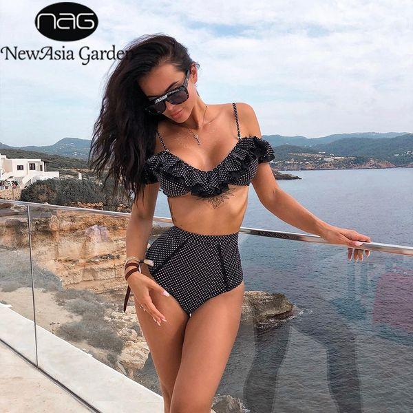 wholesale Elegant Ruffle Bathing Suit Women Sexy Off Shoulder Two Piece Set Beachwear Vintage Polka Dot Summer 2 Piece Set