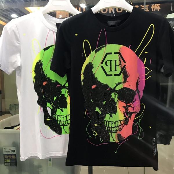 O-cuello camiseta de la aptitud Tops de alta calidad rápidamente verano camiseta de los hombres de los PP Negro Skulls Print Rock estilo transpirable manga corta marca Tees NN
