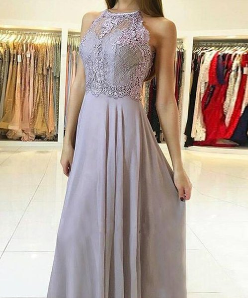 Abendkleider Lace Chiffon Prom Dresses Long Cheap 2019 Formal Evening Gowns with Key Hole Back Cocktail Party Ball Dress Celebrity Gown