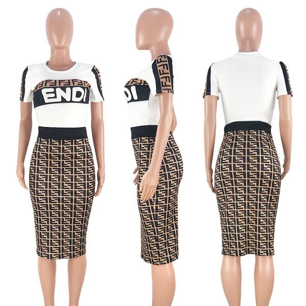 Été Femmes T Shirt Jupe Survêtement F Lettre Outfits Costume De Sport À Manches Courtes Crop Top + Jupe 2 Pièces Night Club Outfit 2019 Nouvelles C411