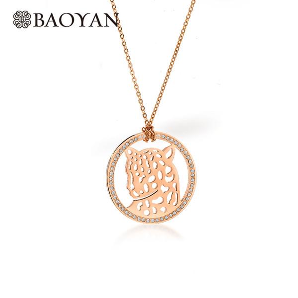 Clearnance-venda Baoyan Moda Colares 2019 de Aço Inoxidável de Cristal Rose Gold Jaguar Leopardo Pingente de Colar de Jóias Mulheres