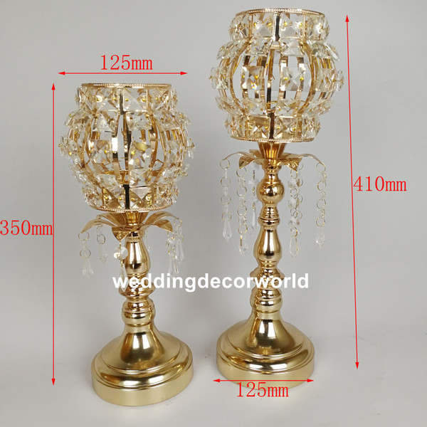 New styleGold Flower Vases Candle Holders Stand Wedding Decor Road Lead Table Centerpiece Rack Pillar Party Candlestick Candelabra decor0830