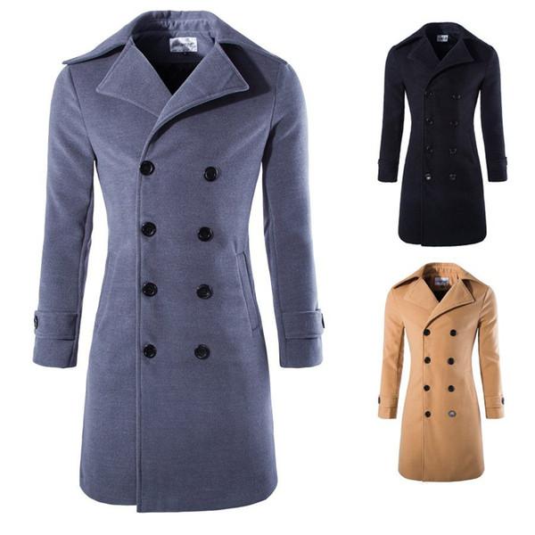 Mens long manteau Slim Fit trench-coat croisé en laine mélangée décontracté