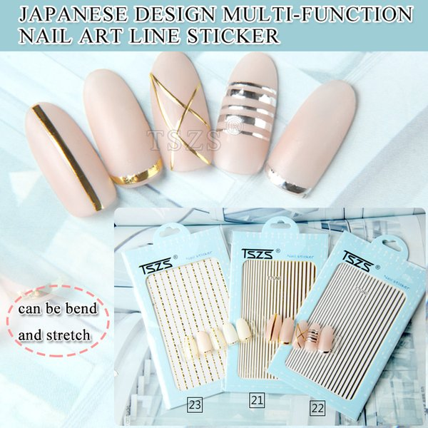 1bag/lot Nail Art 3D Decal Stickers Rose Gold Silver Tape Smile Lines Winds Metallic Self-Adhesive Striping