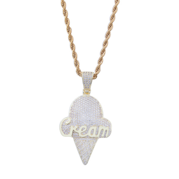 Iced Out Ice Cream Pendant Necklace Hip Hop Full Cubic Zirconia gold sliver CZ Stone foe Men