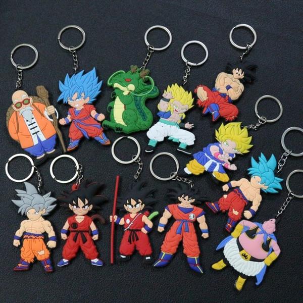 Personagem de banda desenhada Dragon Ball Keychain PVC Anime Figura Goku Vegeta Chaveiro Titular da chave lateral dobro do anel chave Crianças Trinket