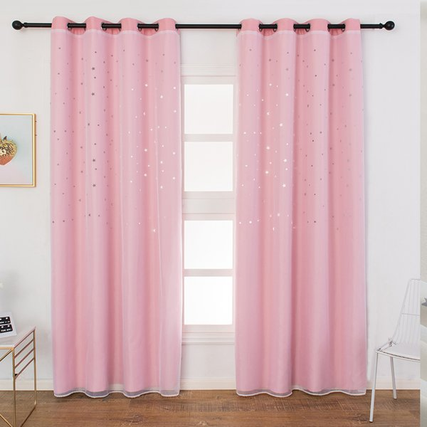 2PCS Living Room Blackout Decoration Modern Baby Room Soft Curtain Star Blinds Kids Home Window Light Blocking Eyelet