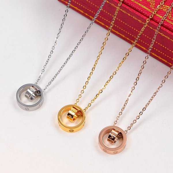 best selling Fashion LOVE Dual Circle Pendant Rose Gold Silver Necklace For Women Lover Neckalce Jewelry With Velvet Bag No Box