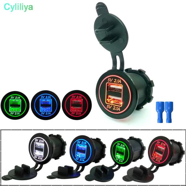 DC 12V/24V Dual Port Car USB Charger 4.2A Power Outlet For Car Boat Mobile Phones Led Light For Motorcycle