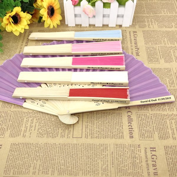 60PCS Hand-made Fan with Printing LOGO Customized Wedding Fan Party Return Gift For Guest
