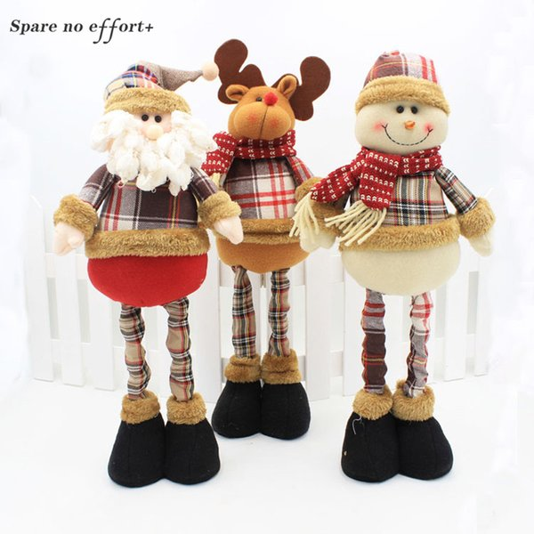 47cm Santa Claus Snowman Christmas Dolls Christmas Decorations for Home Retractable Standing Toy Birthday Party Gift Kids Natal