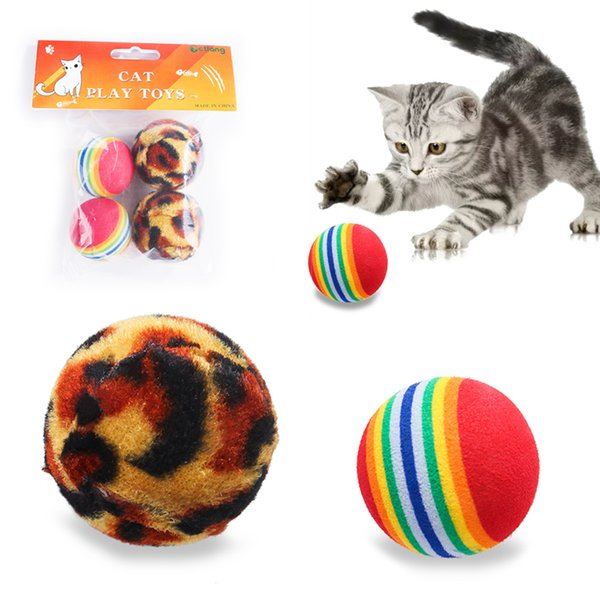 Cat Toys Leopard Colorful Fleece Interactive Chew Dog Ball Pet Toy Puppy Accessories Supplies for Cats Small Medium Large Dogs