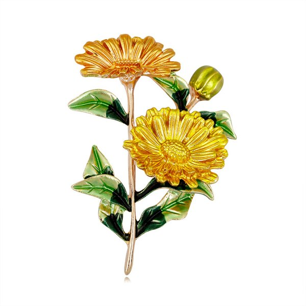 Flower Daisy Brooch Pins Yellow Marguerite Brooch Daisy Boutonniere Wedding Lapel Pin Designer Fashion Jewelry for Men Women Will and Sandy