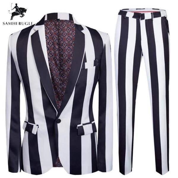 Siyah Suit Çizgili Baskı Men 2019 2 adet Seti Son Coat + Pantolon Düğün Sahne Şarkıcı Slim Fit Kostüm Tasarımları Takımları