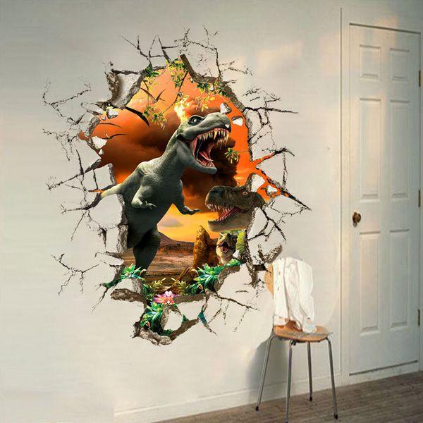 3D Görünüm Dinozor Çocuk odası dekor PVC Duvar sticker Duvar kağıdı duvar Mural ağaç baskı