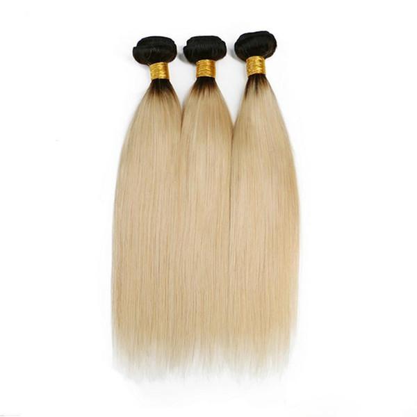 Ombre Couleur 1B / 613 Bundles De Cheveux Raides Brésiliens Deux Tons Blonde Ombre Couleur 3 Bundles / lot Extensions De Cheveux Humains 8-30 Pouces