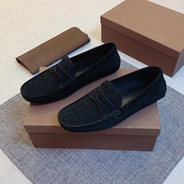 Luxo Shoes homens se vestem de 2019 novos couro genuíno tecelagem moda ervilhas sapatos sapatos casuais lisos dos homens de alta qualidade com caixa original