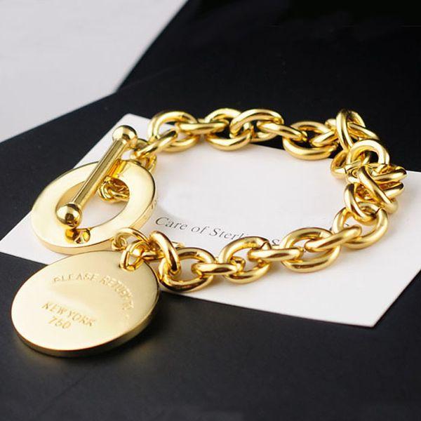Hot-Selling Titan Stahl vergoldet Armband NEWYORK Runde OT Schnalle neutral dick für immer Liebe Armband Damen Schmuck Accessoires