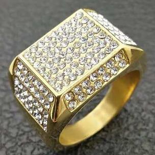 HIP Hop 7 To 12 Micro Band Rings Zircon Square Mens Ring Iced Out Gold Filled Thick Titanium Rings Men Jewelry