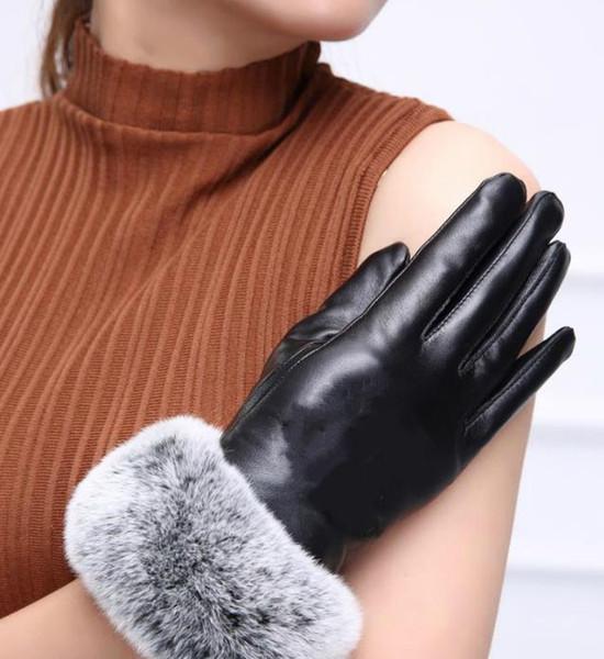 logo FASHION- C gants de haute qualité avec des poils de lapin noir de bonne qualité pas coffret cadeau