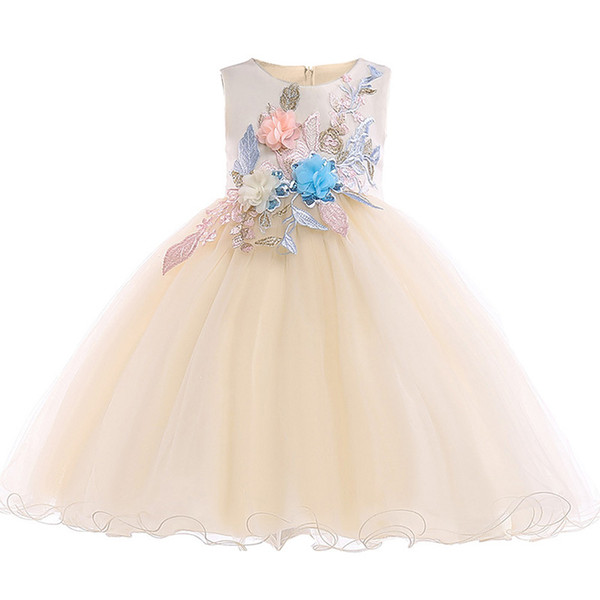 Flower baby girl birthday party dress formal wedding clothes baptism Easter dress child princess children's clothing L5029