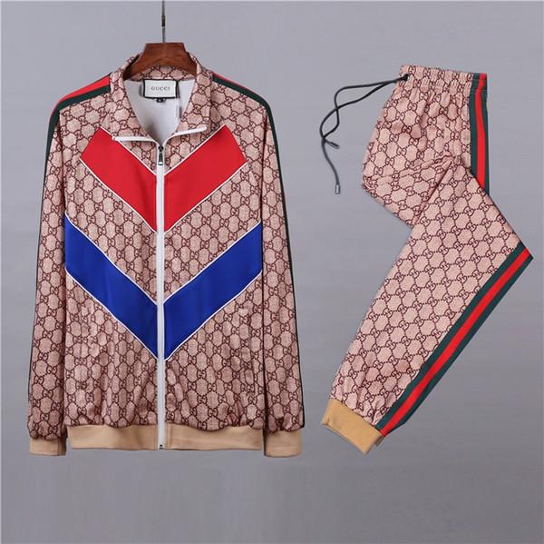 2018 Italiano Internacional De Milão Moda Masculina Sportwear Terno Moletom Com Capuz Casuais Ativo Zipper Outwear Jacket + Calças Conjuntos M-3XL