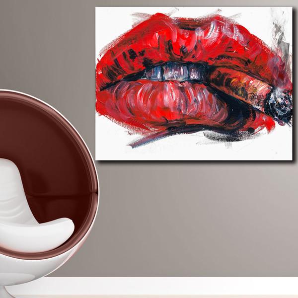 Acheter 1 Pièce De Mode Impression Peinture à L Huile Peinture Murale Cigarettes Et Vin Décoration De La Maison Mur Art Photo Pour Le Salon Peinture
