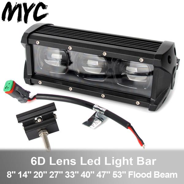 Luce del lavoro 6D Lente Bianca a Led Bar 60W 120W 210W a fila singola luce di azionamento 4x4 Offroad per i camion SUV ATV barca 12V 24V
