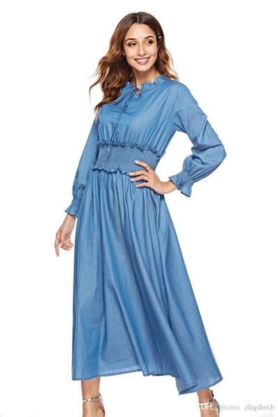 Women dress Summer Solid color Long sleeve Elegant Lady print Lotus leaf collar Lace Ruched Elastic waist Denim skirt Casual Loose Dresses