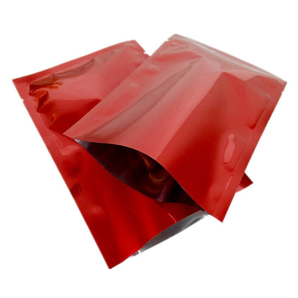 300pcs 7*10cm red open top mylar heat seal vacuum package bag aluminum foil dry food packing bag tea coffee power bag