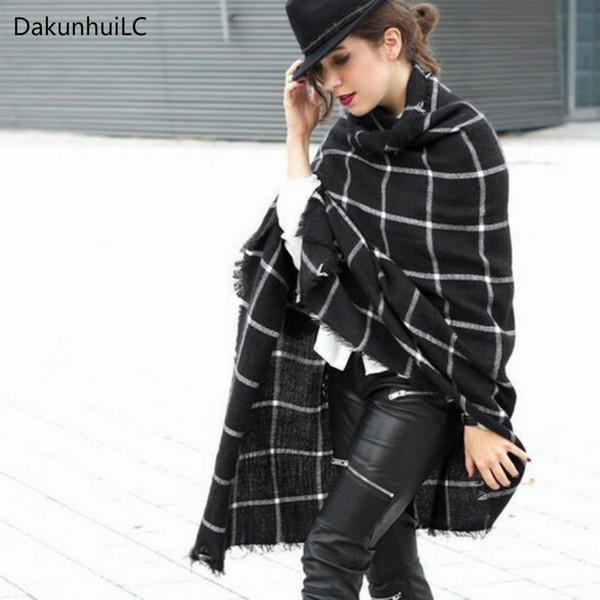 195CM * 75CM Nouveau 1 PC Dame Femmes Couverture noir blanc Plaid Cozy Vérifié Tartan Écharpe Wraps châle