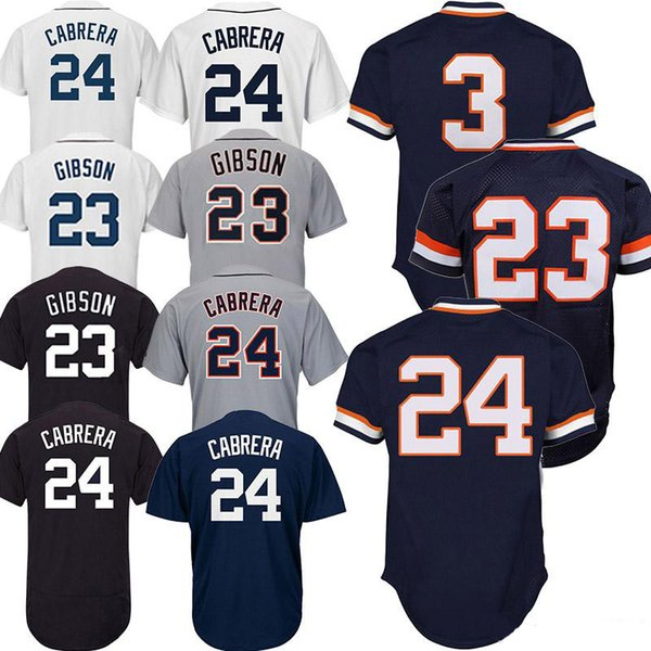 Detroit Baseball Jerseys Tigers 23 Kirk Gibson 3 Alan Trammell 24 Miguel Cabrera High quality embroidery Breathable fabrics Adult shirt
